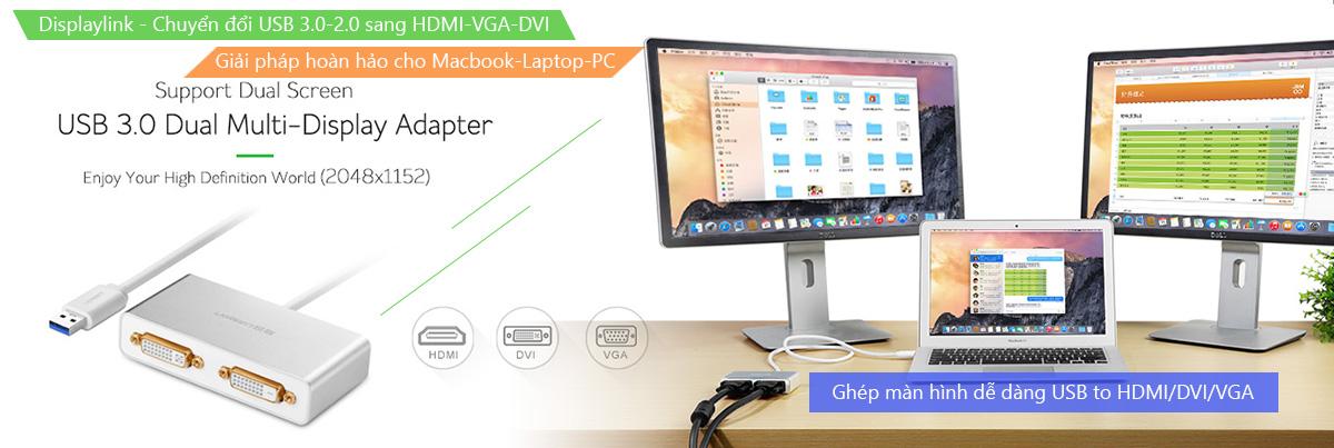 thiết bị chuyển đổi, cáp chuyển đổi USB sang VGA, DVI, HDMI chính hãng Ugreen, Unitek