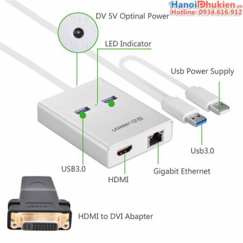Cáp USB 3.0 sang HDMI, LAN, 2 USB 3.0 Ugreen 40255 chính hãng