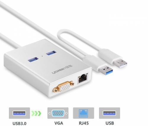 Cáp USB 3.0 sang VGA, LAN, 2 USB 3.0 Ugreen 40242 chính hãng