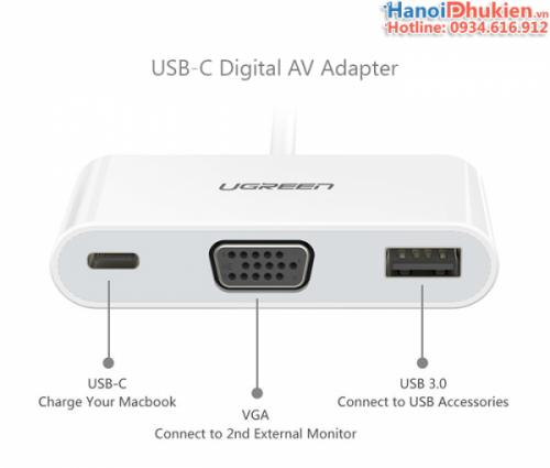 Cáp Type C sang VGA, USB hỗ trợ sạc Ugreen 30376
