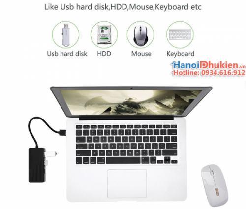 Bộ chia USB 3.0 3 cổng, đầu đọc thẻ nhớ SD TF Ugreen CR132