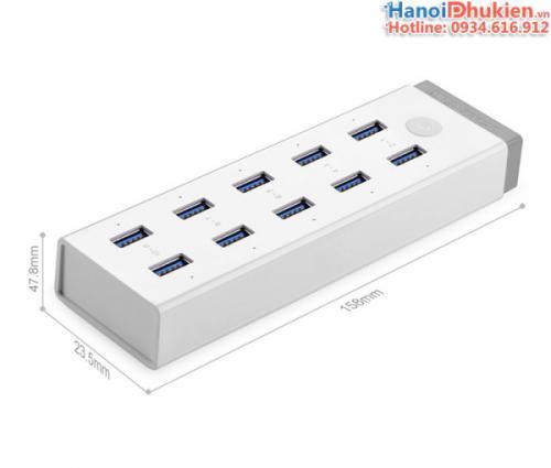 Bộ chia USB 10 cổng hỗ trợ nguồn ngoài Ugreen 20297