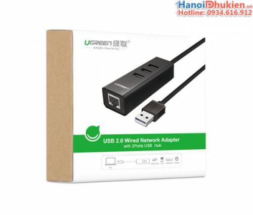 Bộ chia USB 2.0 - 3 cổng USB, tích hợp cổng mạng LAN Ugreen 30301
