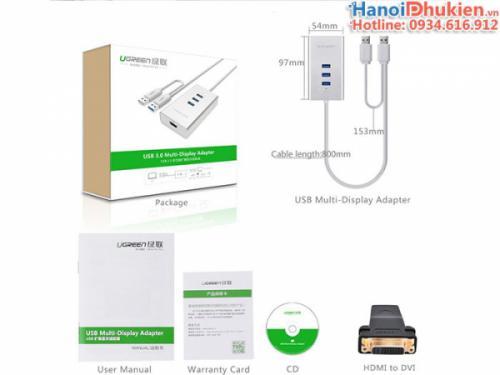 Cáp chuyển đổi USB 3.0 sang HDMI, 3 cổng USB 3.0 Ugreen 40257 chính hãng