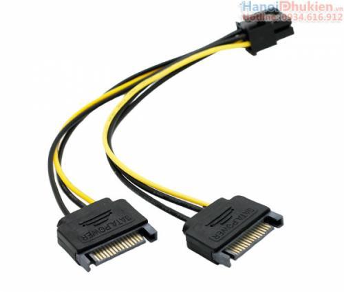 Cáp nguồn 2 SATA sang 6pin cho card đồ họa VGA